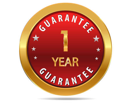 1 year: 1 year guarantee golden red button, badge,sign