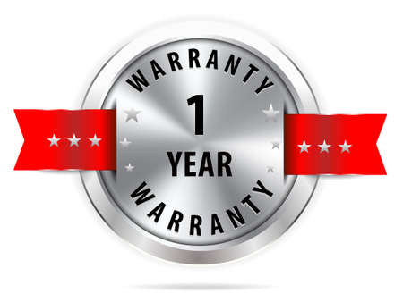 1 year warranty: silver 1 year warranty button seal graphic with red ribbons