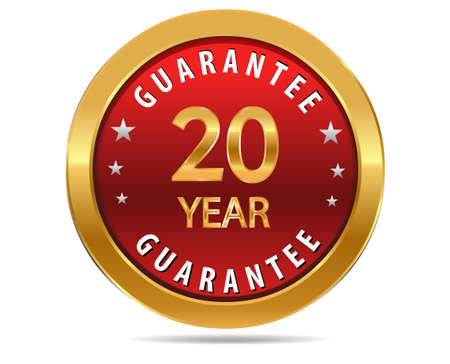 pledge: 20 year guarantee golden red button, badge,sign
