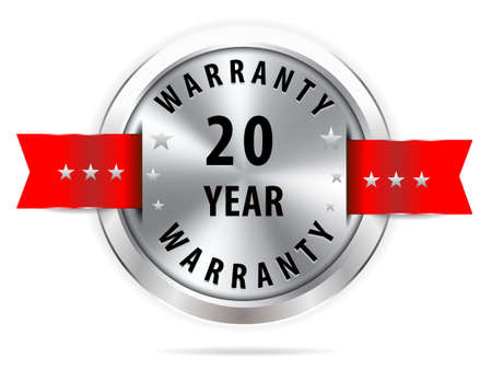 pledge: silver 20 year warranty button seal graphic with red ribbons