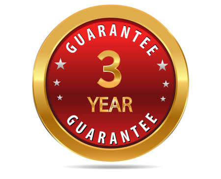 promise: 3 year guarantee golden red button, badge,sign