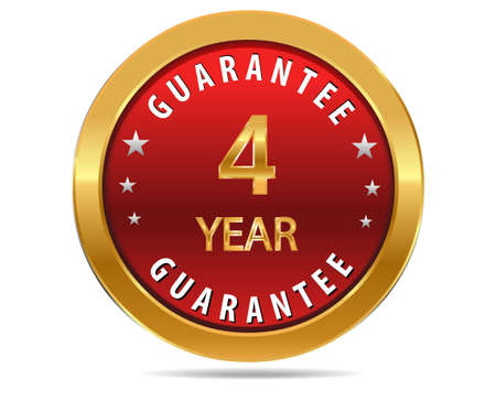 pledge: 4 year guarantee golden red button, badge,sign