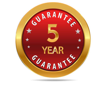 pledge: 5 year guarantee golden red button, badge,sign