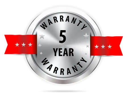 1 year warranty: silver 5 year warranty button seal graphic with red ribbons