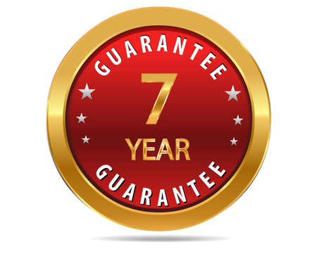 pledge: 7 year guarantee golden red button, badge,sign