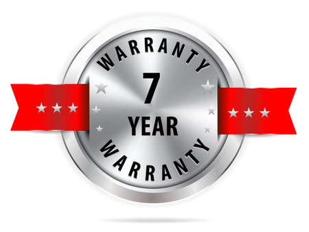 silver 7 year warranty button seal graphic with red ribbons 일러스트