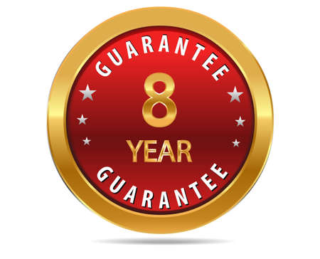 pledge: 8 year guarantee golden red button, badge,sign
