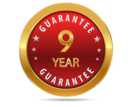 pledge: 9 year guarantee golden red button, badge,sign