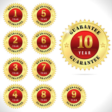1 year warranty: gold top quality guarantee badge from 1 to 10 year Illustration