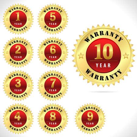 1-10년 금 최고 품질 보증 배지 스톡 콘텐츠 - 37216935