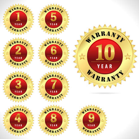 gold top quality warranty badge from 1 to 10 year