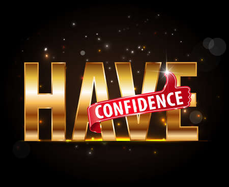 assured: have confidence typography with thumbs up sign Illustration