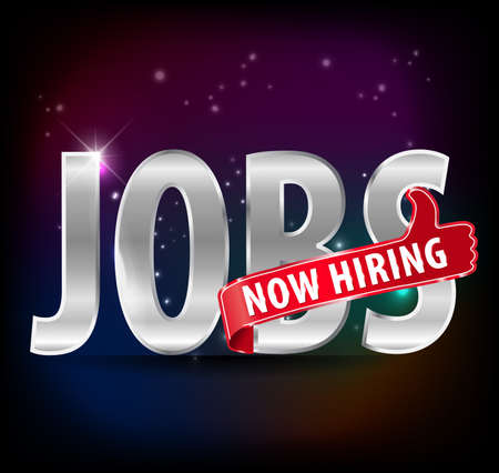 job opening: jobs opening now Hiring red thumbs up advertising job offered and golden sign with the words Now Hiring isolated,