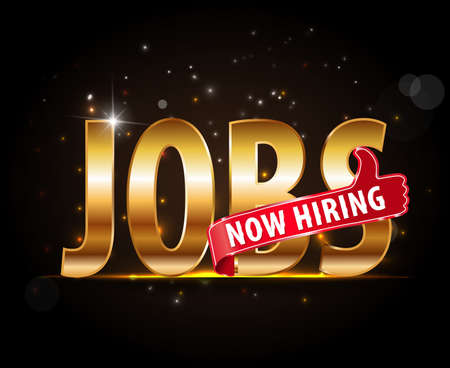 jobs opening now Hiring red thumbs up advertising job offered and golden sign with the words Now Hiring isolated,