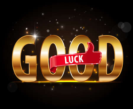 golden good luck sign with thumbs up