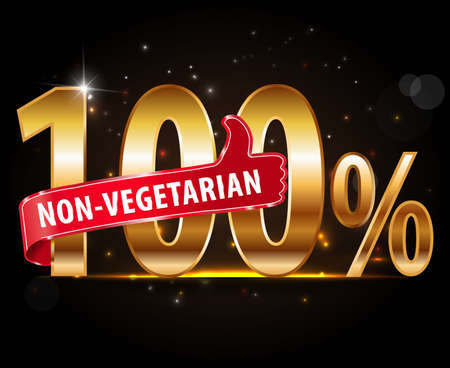 non vegetarian: 100% non-vegetarian food silver label with red thumbs up typography vector Illustration