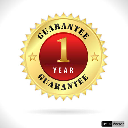 1 year warranty: gold top quality 1 year guarantee badge Illustration