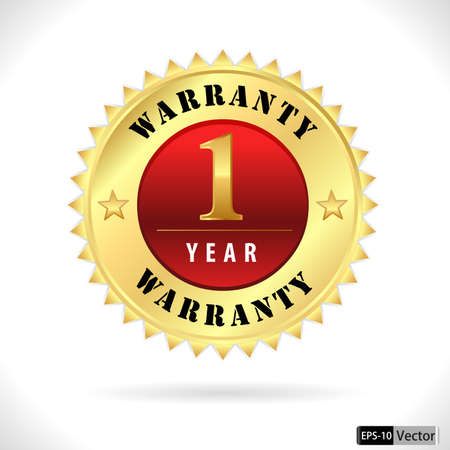 1 year warranty: gold top quality 1 year warranty badge- vector eps 10 Illustration