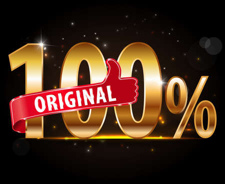 Golden 100% percent original with red thumbs up label Vector