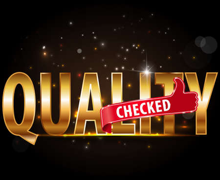 thumbs up sign: quality checked golden typography text with thumbs up sign Illustration