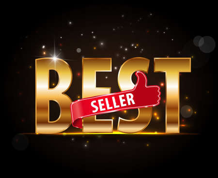 Bestseller labels with thumbs up golden text label
