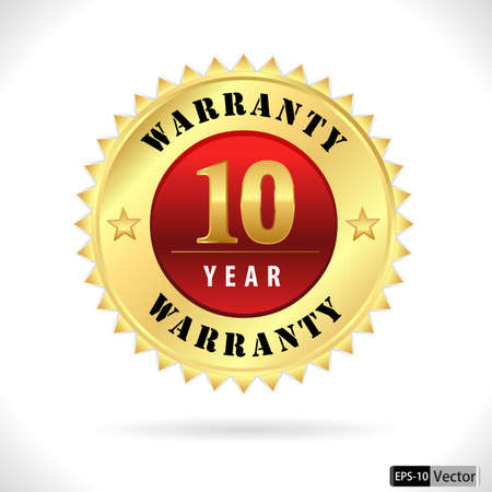gold top quality 10 year warranty badge