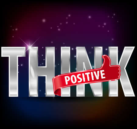 Think positive silver text with thumbs up sign, vector illustration Vector