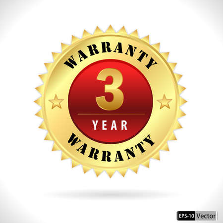 gold top quality 3 year warranty badge- vector eps 10 Vector