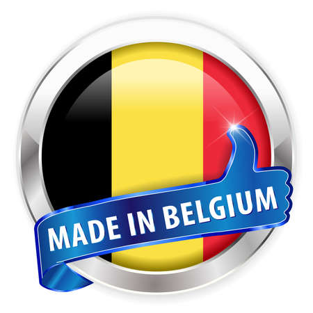 made in belgium: made in belgium silver badge isolated button on white background - vector eps10