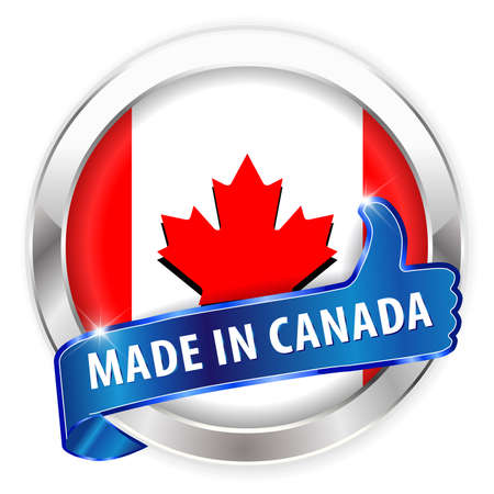 made in canada silver badge isolated button on white background - vector eps10