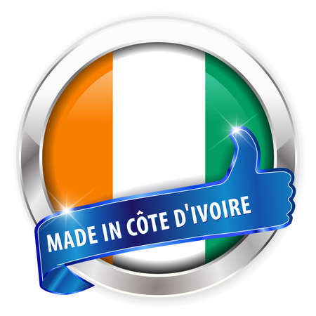 d offer: made in cote d ivoire silver badge thumbs up button on white background