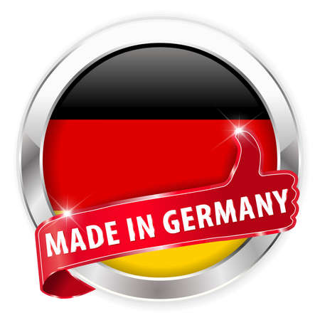 made in germany: made in germany silver badge thumbs up button on white background - vector eps10