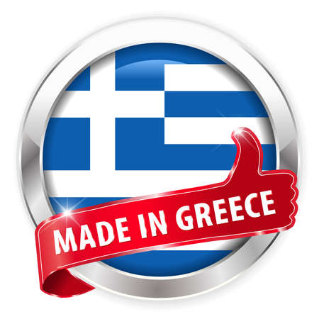 made in greece stamp: made in greece silver badge thumbs up button on white background - vector eps10 Illustration