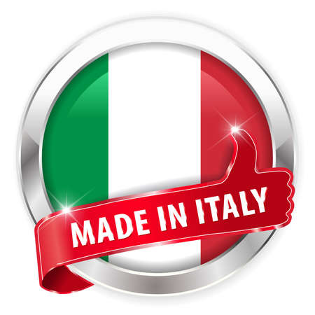 made in italy silver badge isolated button on white background