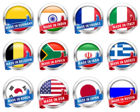 Countries flag silver badge with thumbs up sign on white background - vector eps10
