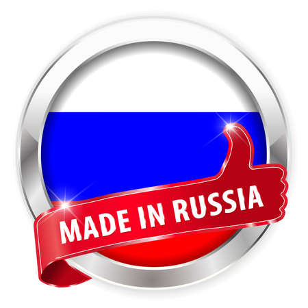 made russia: made in russia silver badge isolated button on white background - vector eps10