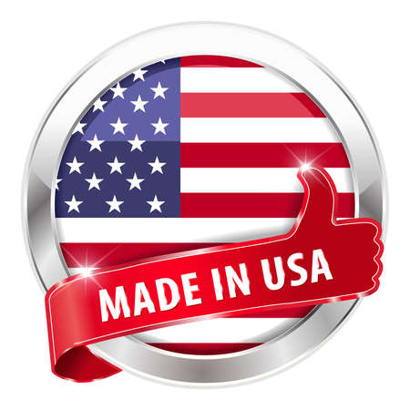usa: made in usa silver badge isolated button on white background - vector eps10 Illustration