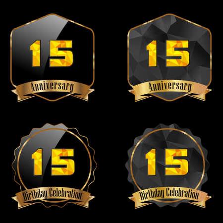 15 year birthday celebration golden label, 15th anniversary decorative polygon golden emblem - vector illustration eps10 Vector