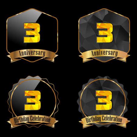 3rd: 3 year birthday celebration golden label, 3rd anniversary decorative polygon golden emblem - vector illustration eps10