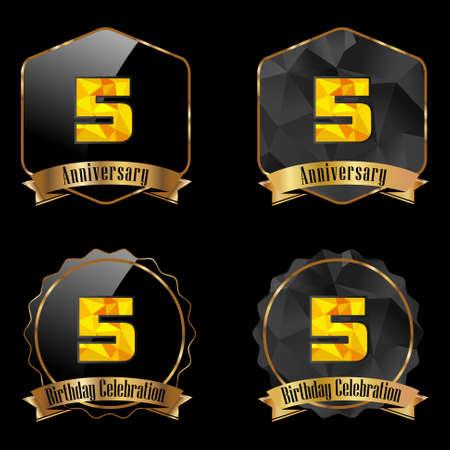 5th: 5 year birthday celebration golden label, 5th anniversary decorative polygon golden emblem - vector illustration eps10