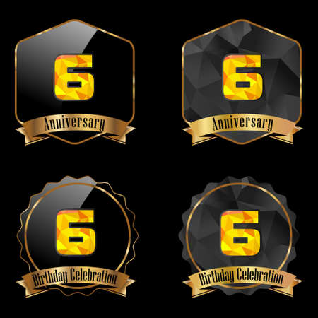 6th: 6 year birthday celebration golden label, 6th anniversary decorative polygon golden emblem - vector illustration eps10