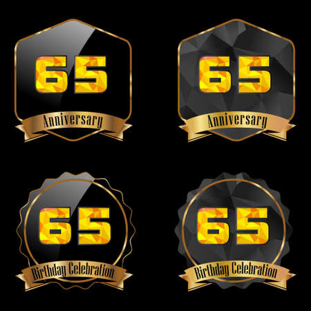 65th: 65 year birthday celebration golden label, 65th anniversary decorative polygon golden emblem - vector illustration eps10