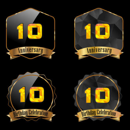 10th: 10 year birthday celebration golden label, 10th anniversary decorative polygon golden emblem - vector illustration eps10 Illustration