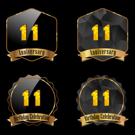 11th: 11 year birthday celebration golden label, 11th anniversary decorative polygon golden emblem - vector illustration eps10