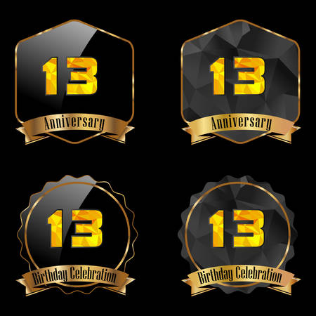 13th: 13 year birthday celebration golden label, 13th anniversary decorative polygon golden emblem - vector illustration eps10 Illustration
