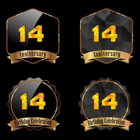 14th: 14 year birthday celebration golden label, 14th anniversary decorative polygon golden emblem - vector illustration eps10