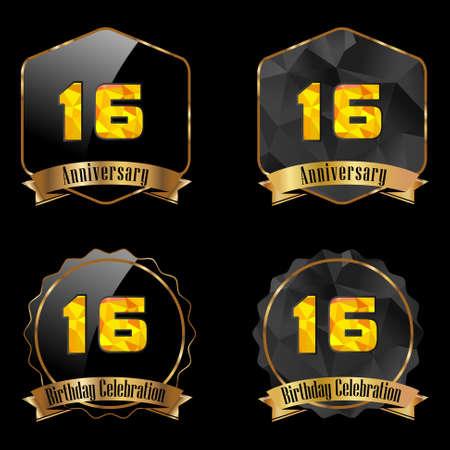 number 16: 16 year birthday celebration golden label, 16th anniversary decorative polygon golden emblem - vector illustration eps10 Illustration