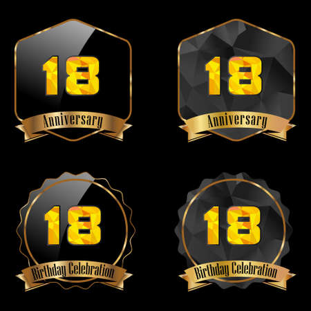 18th: 18 year birthday celebration golden label, 18th anniversary decorative polygon golden emblem - vector illustration eps10
