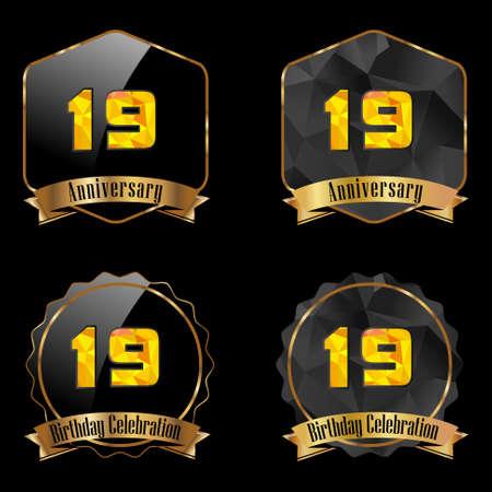19th: 19 year birthday celebration golden label, 19th anniversary decorative polygon golden emblem - vector illustration eps10