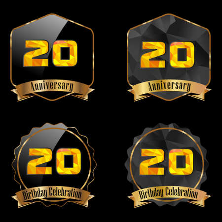 20th: 20 year birthday celebration golden label, 20th anniversary decorative polygon golden emblem - vector illustration eps10